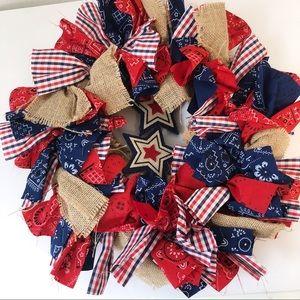 American flag Fourth of July wreath burlap stars